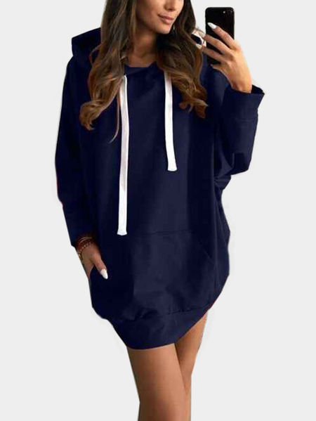 Navy Solid Color Long Sleeves Hoodie Dress