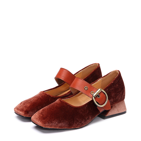 Brown Velvet Square Toe Flats with Buckle Design