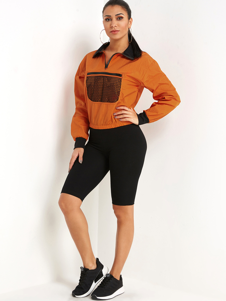 Orange Zip Design Mesh Pocket Front Pullover Long Sleeves Sweatshirt