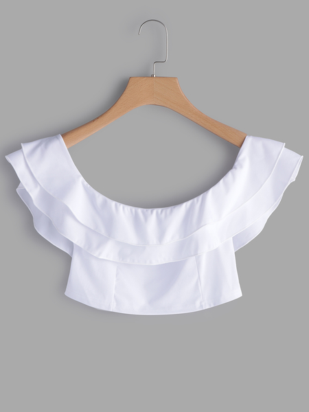White Off The Shoulder Flounced Design Crop Top