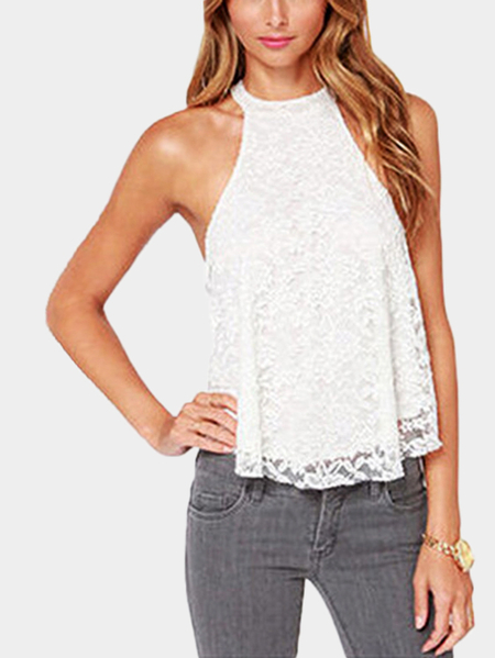 White Lace Design Chest Cut Out Top