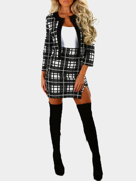 Grid Pattern Open Front Long Sleeves Slit Hem High Waist Co-ords