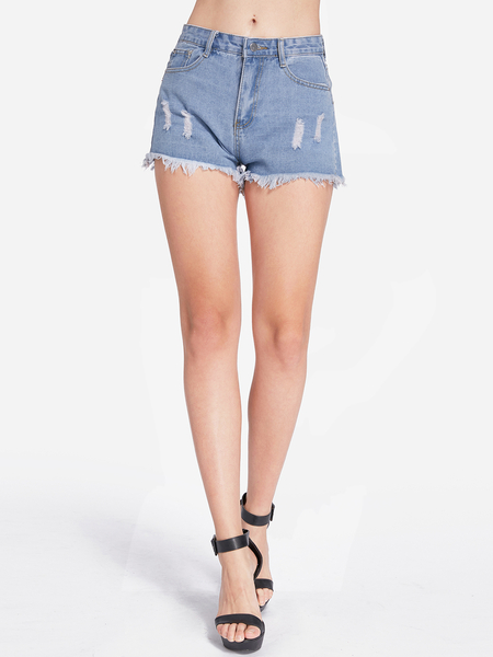 Blue Random Ripped Details Plain Middle-waisted Pumped Denim Shorts