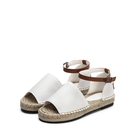 White Peep Toe Leather Look Ankle Strap Flat Sandals
