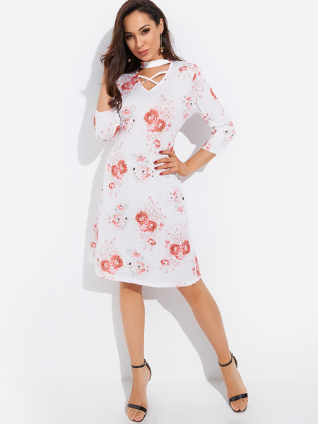 White Crossed Front Design Random Floral Print Crew Neck Dress