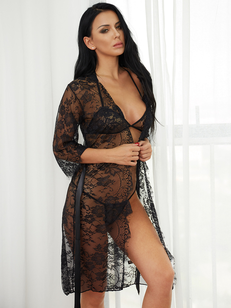 Black Sexy Lace Self-tie Waist Pajamas Dresses