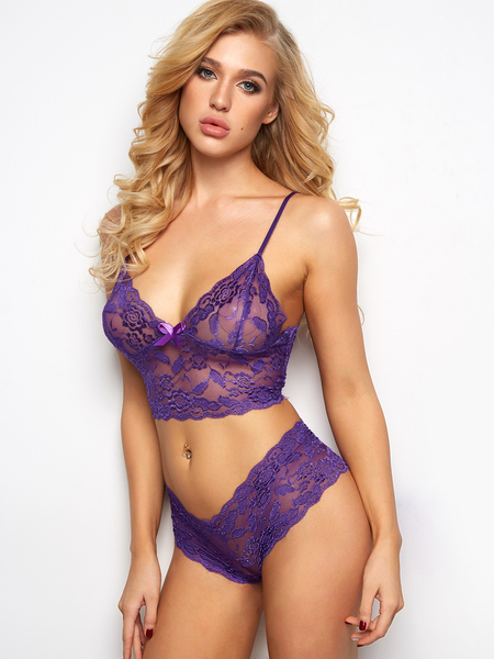 Purple V-neck Bowknot Lace Lingerie Set