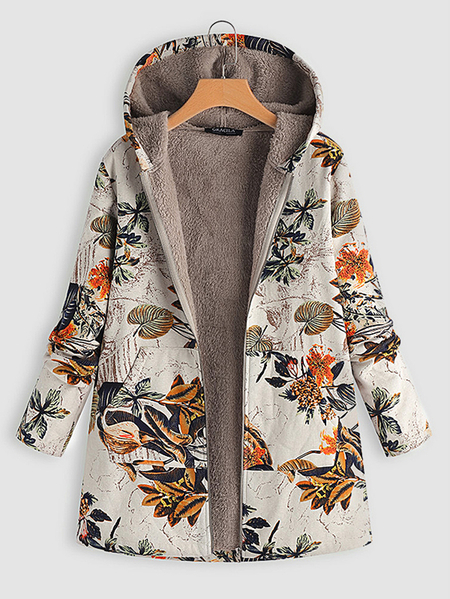 Orange Random Floral Print Hooded Design Long Sleeves Plush Lining Coat