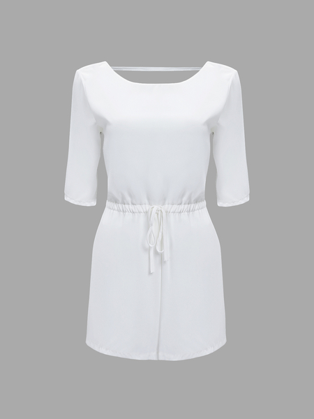 White Open Back Playsuit with 1/2 Length Sleeves