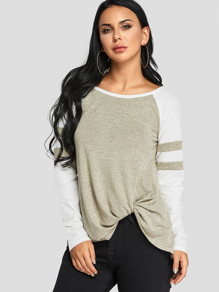 Yoins Taupe Tie-up Back Twist Colorblock Tee