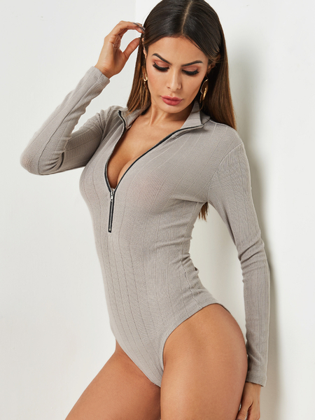 Grey V Neck Zipper Front Long Sleeved Bodysuit