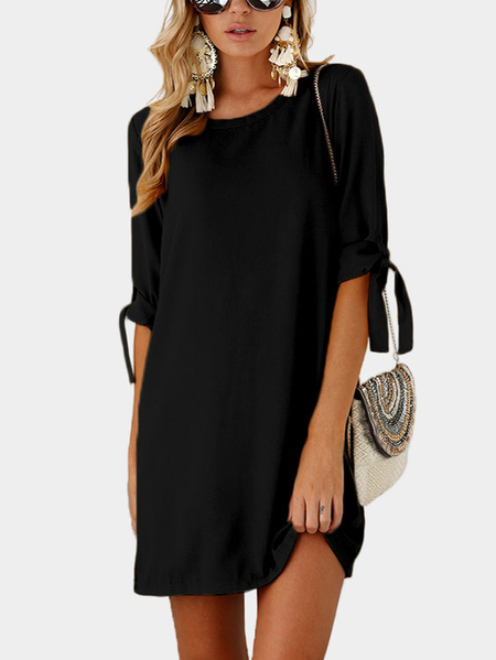 Black Self-tie at Sleeves Mini Dress