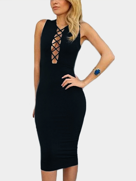 Black Plunging Neck Cut Out Crisscross Design Sleeveless Sexy Party Dress
