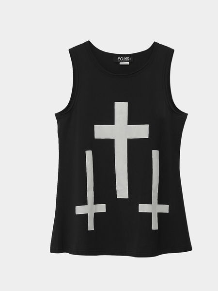 Black Tank Top with Cross Print