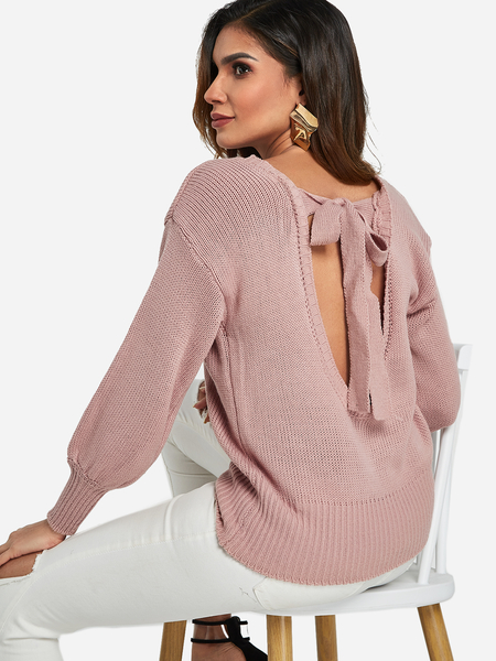 Pink Backless Tie-up Design Knitting Sweater