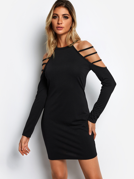 Black Strappy Design Long Sleeves Mini Dress