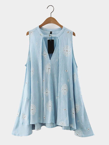 Light Blue Sleeveless Retro Print Dress with Cut Out