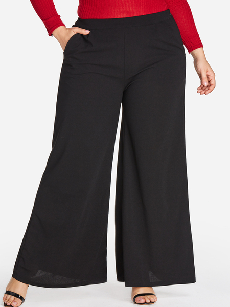 Plus Size Black Pocket Wide Leg Pants