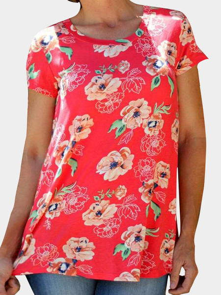 Red Random Floral Print Round Neck Tee