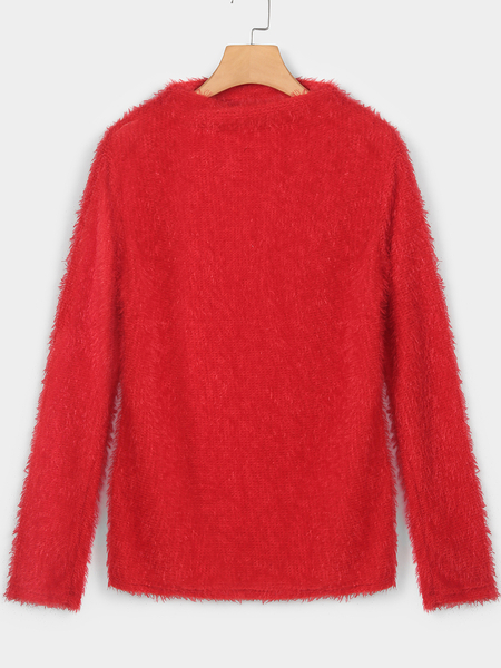 Red Crew Neck Long Sleeves Imitating Mohair Sweater