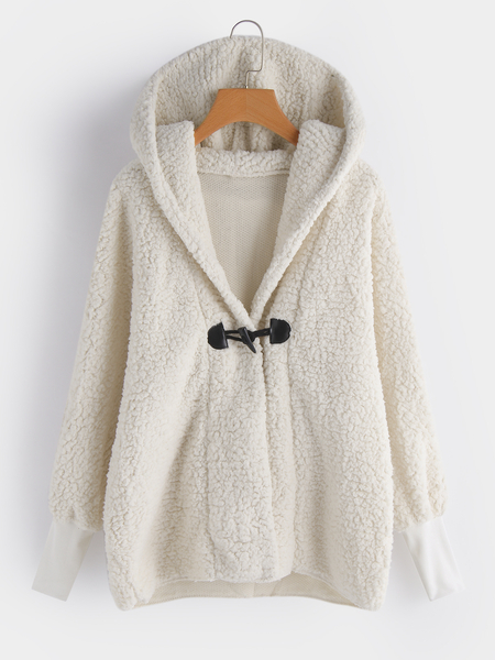 Hooded White Button Keyhole Design Long Sleeves Woolen Coat