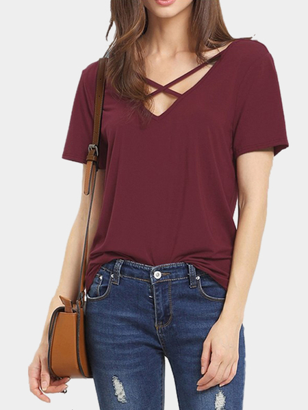 Burgundy Cross Straps Front & Back Deep V-neck T-shirts