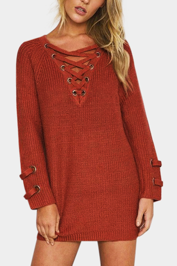 Yoins Coral Lace-up Front Long Raglan Sleeves Sweater Dress