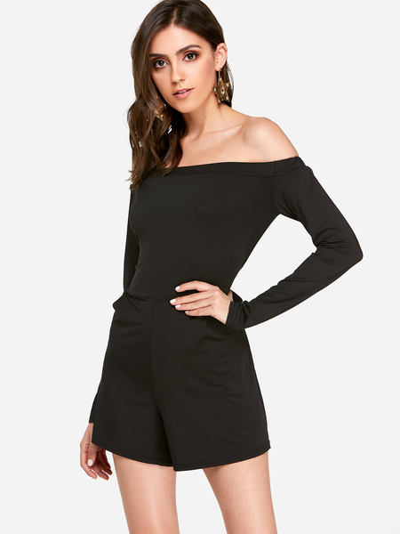 Black Off The Shoulder Long Sleeves Playsuit with Lace-up Design