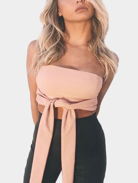 Off Shoulder Tie-front Crop Top in Pink