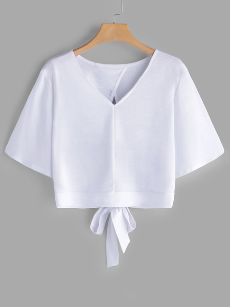 White Cut Out V-neck Half Sleeves T-shirts