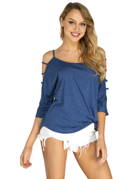 Blue Cold Shoulder 3/4 Length Sleeve T-shirt with Strappy Detail