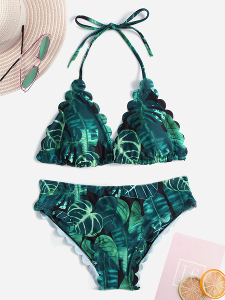 Green Leaves Printed Halter Bikini Set