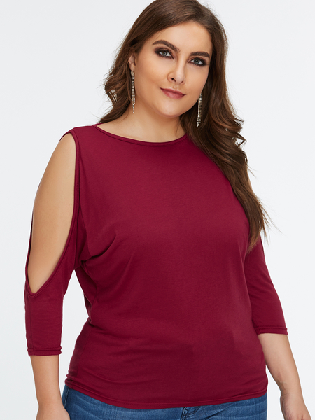 Plus Size Burgundy Cut Out Sleeves T-shirt