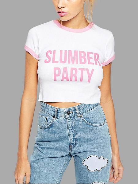 Slumber Party Print Cropped T-shirt