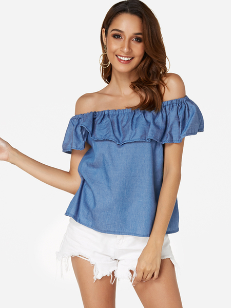 Blue Tiered Design Off The Shoulder Blouse