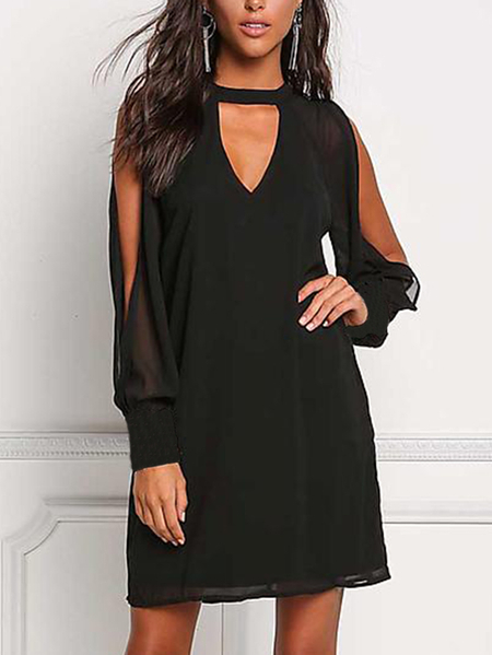Black V-neck Cold Shoulder Long Sleeves Chiffon Dress