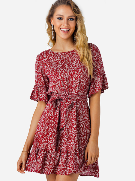 Red Sweet Scoop Neck Frill Design Random Floral Print Mini Dress