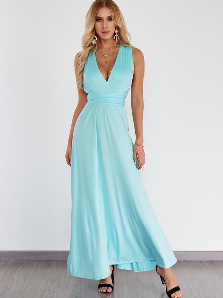 Sky Blue Backless Criss-cross Deep V-neck Maxi Dress