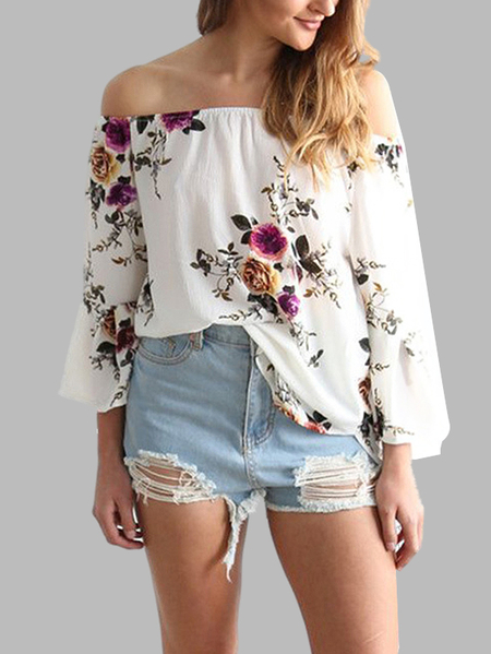 White Random Floral Print Off Shoulder Flared Sleeves Loose Blouse