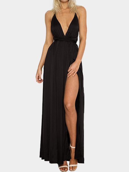 Black Backless Design Deep V Neck Party Dress