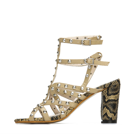 Leather Look Snake Print Heel Ankle Strap Studded Sandals