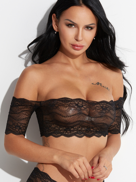 Black Off Shoulder Short Sleeves Semi Sheer Scalloped Lace Bra