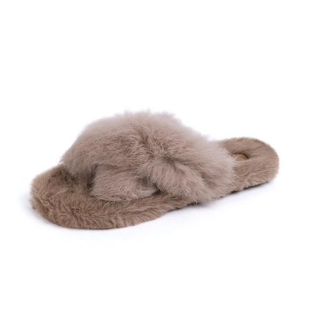 Khaki Faux Fur Cross Design Slippers