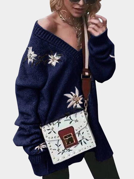 Navy Embroidered Pattern V-neck Long Sleeves Sweaters