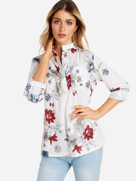 White Button Design Random Floral Print Side Poacket 3/4 Length Sleeves Shirt