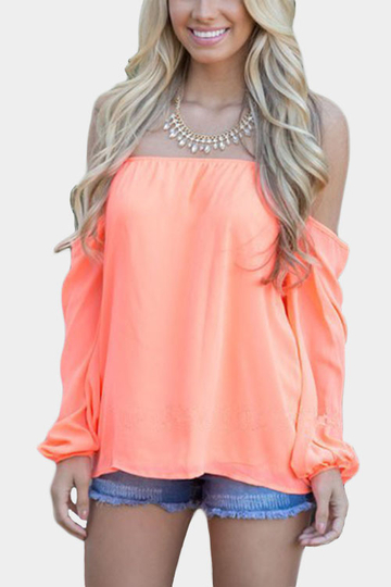 Orange Off-the-shoulder Long Sleeves Chiffon Blouse