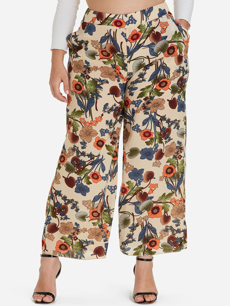 Plus Size Floral Print Pocket Wide Leg Pants