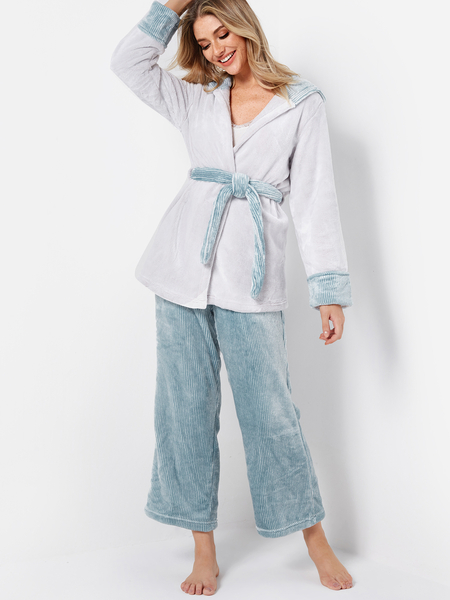 White & Blue Coral Fleece Hooded Pajama Sets with Detachable Waist Belt