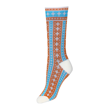 Colorblocked Jacquard Crew Socks in Blue