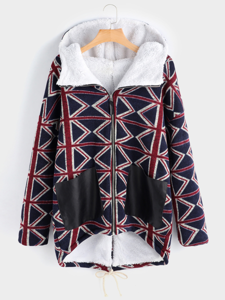 Plus Size Plaid Contrast Pocket Hooded Coat